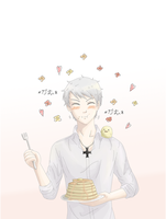 Prussia and pancake by Tanuki-desu
