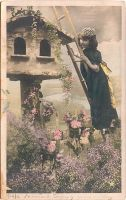 Vintage Girl on Birdhouse by HauntingVisionsStock