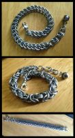 Silver Bracelets: Half Persian and Byzantine by NikidaEve