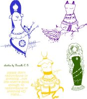 Pen Sketches: 3 Heart Dresses by Bladerdani