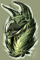 sketch# Green gryphon by SeshiMutt