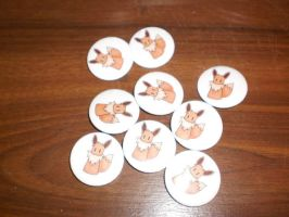 chibi eevee badges for sale by Baka-customs