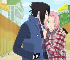 SasuSaku - fall/winter outfits - by Sheeva17