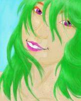 Green Hair and Freckles by NaziViolinist