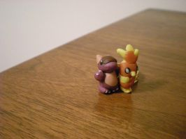 Baby Kanga and Torchic by Foureyedalien