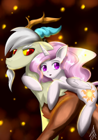 Young Discord and Celestia by SirANarchy95