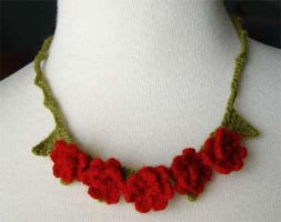crochet red rose necklace by meekssandygirl