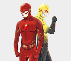 The Flash and Professor Zoom by FXNart