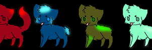 Glow Element Kitties by meloniigayle