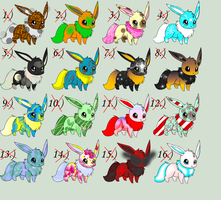 Eevee adoptable sheet - 1 point each - CLOSED!!! by ACs-adoptables