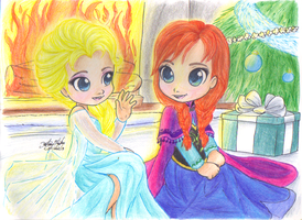 Chibi Elsa and Anna by sonicartist16