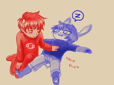 Karkat: Pap the sleeping Bunbert by sheepish-Bunbert