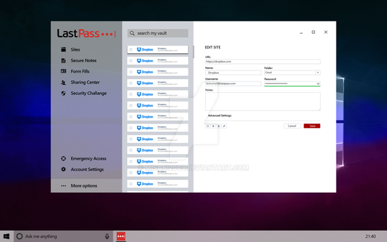 LastPass concept for Windows 10 RS3 by Misaki2009