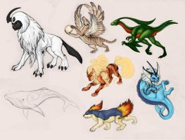Quick sketches of Pokemon and two random by hontor