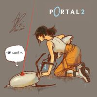 chell and turret by xiaojin67