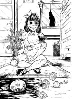 Horror Challenge 18 Ball-jointed doll A4 black ink by IgorChakal