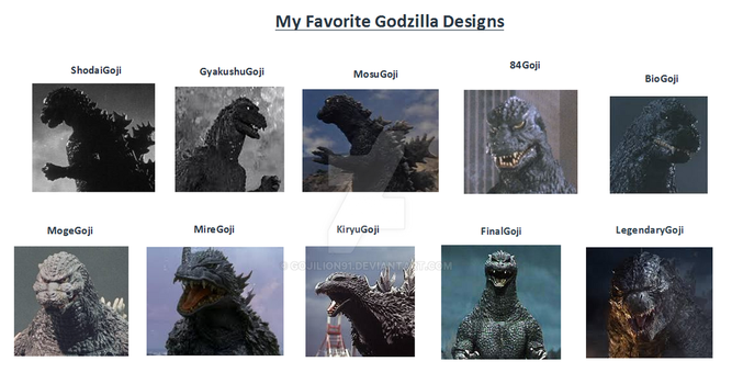 My Favorite Godzilla Designs by Gojilion91