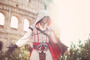 Rome Backstage Ezio Auditore Cosplay Parkour Day 1 by LeonChiroCosplayArt