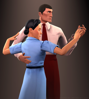 1940s Spy and Scout's Mom [DOWNLOAD LINKS] by CelestialDarkMatter