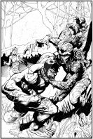 Shaw Hulk-SwampThing - inks by JeffGraham-Art
