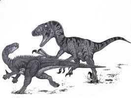 Utahraptor vs Hippodraco by HodariNundu