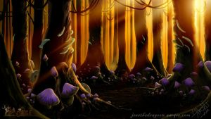 Enchanted Woods Sunset by jessthedragoon