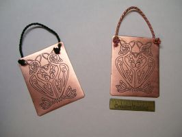 Celtic Flamingo Ornaments by creativeetching