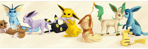 Eeveeloutions and 1 Pikachu by Zayger