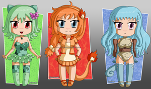 [CLOSED] ADOPTABLES Kanto starters gijinka by izka197
