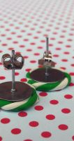 Spearmint Candy Swirl Post Earrings by Gynecology