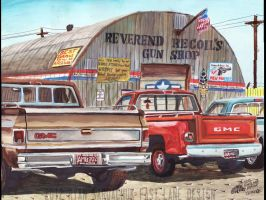 GMC Trucks At The Surplus Store (Painting) by FastLaneIllustration