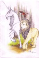 Unicorn and the Lion by Essence-of-Equus