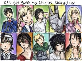 Favorite Characters Meme by rockinrobin