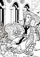 Female Crusader - Diablo III (Lineart) by illustrationoverdose