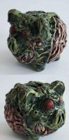 Zombie Piggy bank by richardsymonsart