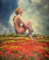 Over Fields of Poppies by KanchanCollage