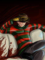 Freddy Krueger watches TV by Super-Furet