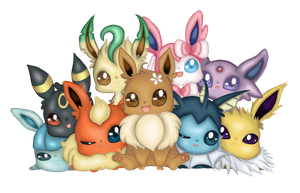 Eeveelution Family Photo by BitKitty