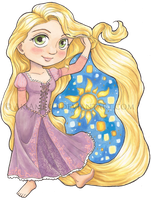 Repunzel Copic Chibi by AkiAmeko