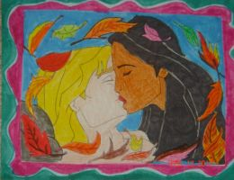 Disney's John Smith and Pocahontas romantic kiss by NightmareDC