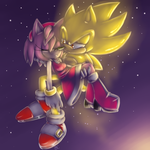 Super Sonic and Amy :speedpaint: by Mitzy-Chan