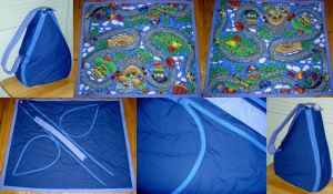 Curvy Hwy Blue Playmat Tote by SmilingMoonCreations