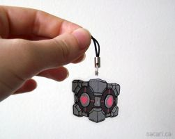 Companion Cube Phone Charm by Sacari