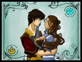 Zuko and Katara - Colored by TerraForever