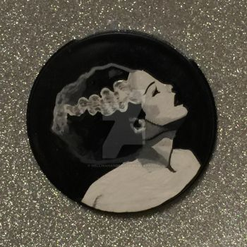 Bride of Frankenstein Hand Oainted Compact Mirror by hellinahandbag
