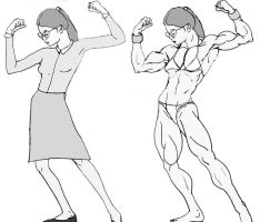 Shy Librarian Turns Into Muscular Amazon by feminox