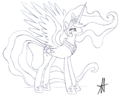 -Sketch- Sad Celestia by Ardas91