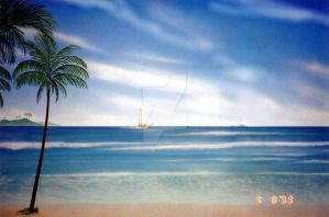 BLUE BEACH OF DREAMS (work done with airbrush ) by christiano2211