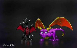 Spyro and Cynder wallpaper by twisted-wind