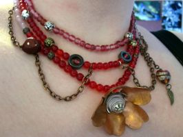 Roses are red necklace by Gothic-Enchantress